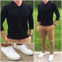 Black ⚫️ and Tan + I love the sharp contrast of colors with an outfit like this one. And on a chilly spring day like today, a light sweater provides some warmth, but the sneakers make the outfit look seasonally appropriate. Do you like this outfit❓ Sneakers: @greatsbrand Royale Perforated Blanco Pants: @grayers Watch: @hamiltonwatch