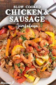 Heat things up during mealtime! Try your hand at this delicious Slow Cooker Chicken and Sausage Jambalaya. Full of veggies, smoked sausage, chicken and shrimp, this jambalaya is a simple and easy meal for the entire family to enjoy. Just take your slow cooker and line with Reynolds Slow Cooker Liner, add all the ingredients and cook for seven to eight hours for a stew that's both hearty and healthy. After dinner is complete, throw away the liner for cleanup that's a breeze.