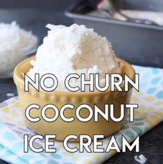 Only 2 ingredients to make this creamy smooth coconut ice cream without a machine! Only 2 ingredients to make this creamy smooth coconut ice cream without a machine! Köstliche Desserts, Frozen Desserts, Delicious Desserts, Dessert Recipes, Yummy Food, Easter Recipes, Recipes Dinner, Tasty, Desert Recipes