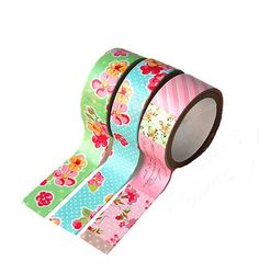 Flowers washi tape set of 3 floral washi tape by LoveStickyNotes