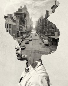 36 Trendy Ideas For Landscape Collage Photography Double Exposure Collage Kunst, Art Du Collage, Collage Portrait, Collage Of Photos, Photo Collages, Collage Illustration, Collage Artists, Creative Illustration, Photomontage