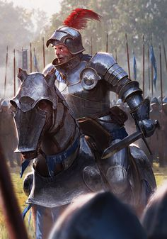 m Fighter Battle Master Plate Armor Helm Sword Horseback Barding Royal Army farmland deciduous forest Road ArtStation Gwent Bronibor by Ameen Naksewee lg Fantasy Warrior, Fantasy Rpg, Medieval Fantasy, Fantasy Artwork, Dark Fantasy, Paladin, Character Portraits, Character Art, Witcher Art