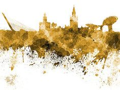 Seville Paintings - Seville skyline in watercolor on white background  by Pablo Romero