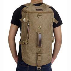 Men Dual-Use Canvas Bucket Backpack Jungle Climbing Bag