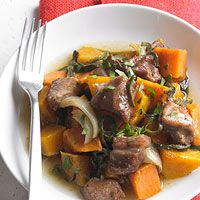 Sugar-Spiced Pork with Squash and Potatoes Recipe.  I don't eat pork, so maybe I can try this with meat.