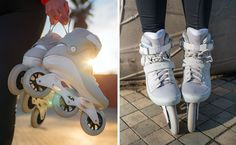 Skate board styles here is how to don the trend. Roller Skate Shoes, Roller Skating, Fashion Wheel, Inline Speed Skates, Skate Girl, Inline Skating, Freestyle, Ladies Dress Design, Sports Women
