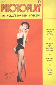 1953 August issue: Photoplay magazine cover of Marilyn Monroe . Marilyn Monroe Books, Marilyn Monroe Portrait, Marilyn Monroe Photos, Old Magazines, Vintage Magazines, Cover Pages, Album Covers, Top Film, Gentlemen Prefer Blondes