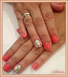 Coral flamingo nails