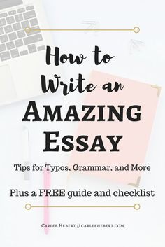 Learn how to write an amazing essay with my essay tips! I have tips for typos, tips for grammar, and more! Plus, I'm giving away a free guide and checklist that has helped me ace every essay! Online College, Education College, College Essay, College Life, College Room, College Hacks, Essay Writing, Writing Tips, Academic Writing