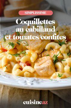 Cette recette mélange des pâtes et du poisson. Les coquillettes au cabillaud et tomates confites sont prêtes en 25 minutes. #recette#cuisine#pates#poisson #cabillaud #tomate