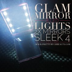 Pretty Much Beauty Glam Mirrors feature 8 LED lights and dual sided mirrors. Available in 4 colors. No More touching up your makeup in the dark. Shop www.PrettyMuchBeauty.com Glam Mirror, Mirrors, Mirror With Lights, Makeup Yourself, Light In The Dark, Makeup Brushes, The Darkest, Fashion Tips, Fashion Design