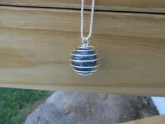 Moss Agate Sphere Cage Pendant Necklace by tlw1212 on Etsy