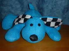 soft toy. Puppy Pete. made with a funky friends pattern. http://www.funkyfriendsfactory.com/puppy-dog-pete-soft-toy-sewing-pattern-instant-download