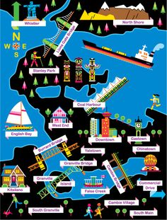 Map of Vancouver by Cyrus Deboo (via The Little Chimp Society).