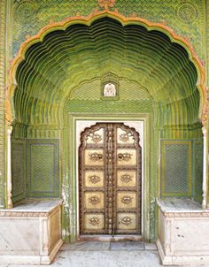 """One of the four gates at Pritam Chowk in the City Palace, Jaipur, India. Each gate represents one of the four seasons. The Green Gate, also called Laheriya (meaning: """"waves"""") Gate, represents spring. Cool Doors, Unique Doors, The Doors, Windows And Doors, Entry Doors, When One Door Closes, Closed Doors, Door Knockers, Doorway"""