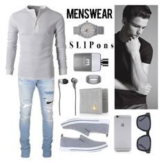 """""""Menswear >> Slip-ons"""" by drehrodriguez ❤ liked on Polyvore featuring Balmain, Trussardi, River Island, Vivienne Westwood, Native Union, Forever 21, Skullcandy, Gucci, men's fashion and menswear"""