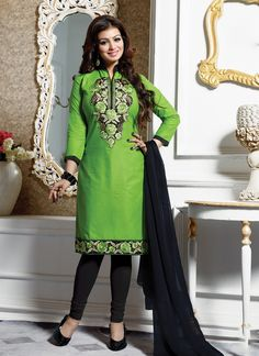 Real beauty comes out from your dressing style with this Ayesha Takia green cotton   churidar designer suit. The brilliant attire creates a dramatic canvas with amazing embroidered and lace work. Come...