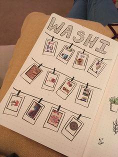 Washi tape Polaroid hung up bullet journal
