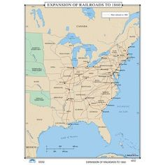 universal map us history wall maps expansion of railroads to 1860