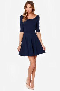 Cute Navy Blue Dress - Scalloped Dress - Skater Dress -  46.00 Grad Dresses a801f2c4a