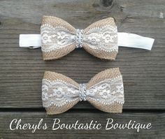 Burlap Lace Bow Tie hair bows with rhinestone center. Choose clip, barrette or Adjustable headband by CherylsBowtasticBows