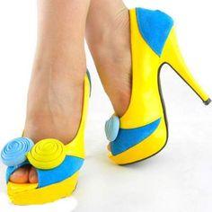 Yellow and blue peeptoe platform shoe