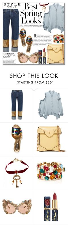 """""""Untitled #528"""" by zhris ❤ liked on Polyvore featuring H&M, Loewe, Magda Butrym, Dolce&Gabbana and MANU Atelier"""