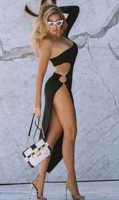 Great Legs, Beautiful Legs, Beautiful Dresses, Lace Up Back Dress, Slit Dress, Rich Girls, Hot Girls, Sexy Outfits, Sexy Dresses