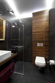 Loft 9b Sofia minimalist bathroom interior wood vanity concrete wall panels decorative wood panels