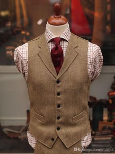 2015 New Tailored Tweed Vest Tuxedos Custom Made Suits Vest ...