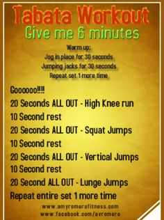 Tabata training workout - 4 minutes, CRAZY effective cardio workout, woo hoo!
