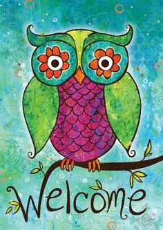 Amazon.com: Toland Home Garden 119432 Rainbow Owl Garden Flag: Patio, Lawn & Garden by BJ Lantz