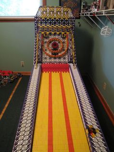 A Full Size Skeeball Machine Made From K'nex Building Toy Pieces