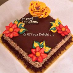 Bailyes Chocolate cake with yellow chocolate rose & strawberries http://www.facebook.com/R77aga