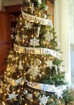 Christmas tree Garlands available, 9 feet long-- Reads; 1-Faith, Hope, Love   #Christmas #Tree #Garland  #holidays #holidaygarland #christmasgarland Available at www.inspirationsbyd.etsy.com