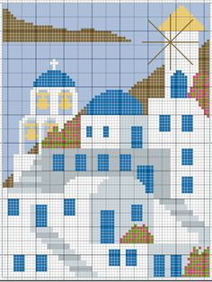 Cross-stitch pattern of one of the Cyclades Islands of Greece - I think this might be Santorini. Cross Stitch Sea, Cross Stitch House, Cross Stitch Bookmarks, Simple Cross Stitch, Cross Stitch Charts, Cross Stitching, Cross Stitch Embroidery, Embroidery Patterns, Intarsia Knitting