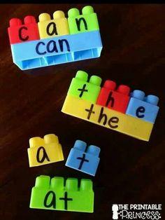 Build a word with duplo blocks for preK-Kindergarten