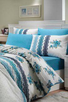 Conjunto de edredão de algodão 57 fios/cm² Camila - Azul e branco