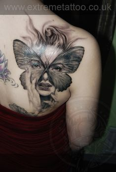 Girl portrait butterfly tattoo,Gabi Tomescu.Extreme tattoo&piercing. Fort William.Highland.Realistic tattoo, Black and grey tattoo, Japanese tattoo, Traditional tattoo, Floral tattoo, Chinese tattoo, Fine line art tattoo, Old school tattoo, Tribal Tattoo, Maori tattoo, Religious tattoo, Pin-up tattoo, Celtic tattoo, New school tattoo, Oriental tattoo, Biomechanical tattoo