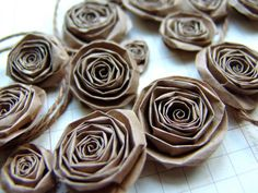 Upcycled Recycled Paper Bag handmade paper flowers by ilovethis. I will definately be making these sometime soon!