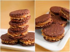Raw chocolate + peanutbutter sandwich cookies