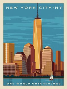 A4 A3 A2 A1 A0| USA Skyscrapers Rivers New York City Poster T261