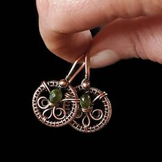 Peridot earrings copper wire wrapped jewelry handmade