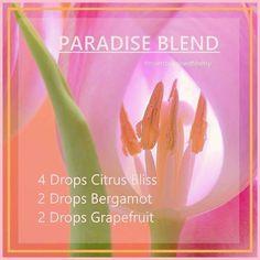 Enjoying this beautiful aroma on a rainy Sunday! Paradise Diffuser Blend 4 drops Citrus Bliss 2 drops Bergamot 2 drops Grapefruit essentialoilswithbetsy@gmail.com