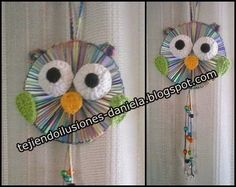 Again recycled CDs with handkerchiefs, this time they were in owls with … - Recycled Cds, Recycled Art Projects, Diy Craft Projects, Crochet Projects, Cd Crafts, Diy And Crafts, Arts And Crafts, Paper Crafts, Cd Recycle