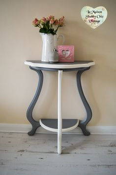 Demilune Table In Blue Vintage Wood Accent Hall Entry Table Shabby Cottage  Chic Furniture By SweetiesAttic On Etsy | Shabby Chic Furniture | Pinterest  ...