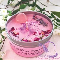 Items similar to MYSTIC UNICORN Peony Magic soy crystal candle rose quartz vegan organic magic witch wicca aromatherapy lavender glitter pink - Unicorn Manor on Etsy Homemade Candles, Diy Candles, Scented Candles, Homemade Gifts, Wicca, Candle Making Business, Candle Making Supplies, Rose Candle, Candle Containers