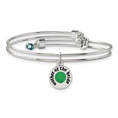 Silver-Tone Trinky Things Green Mother Of Bride Bracelet/Card