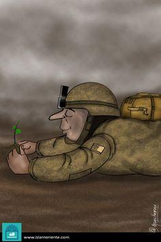 Militarismo y paz (Caricatura)   Galería de Arte Islámico y Fotografía