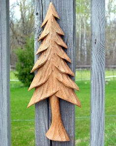 PINE TREE Wood Carving Hand Carved Wall Hanging by RedPineStudioMN, $26.00